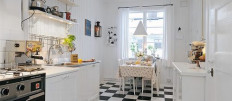 «Шахматы» на кухне — черно-белые полы