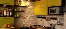 Декоративный камень в интерьере кухни: способы отделки