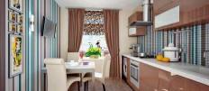 Полосатые обои на кухне: фото идеи для стен