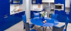 Как будет смотреться кухня синего цвета в интерьере