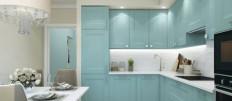 Кухня цвета тиффани в современном интерьере