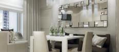 Размещаем зеркало на кухне над обеденным столом