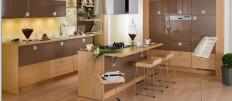Стильная островная кухня с барной стойкой в квартире