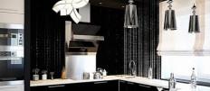 Варианты дизайна кухни в черно-белом стиле