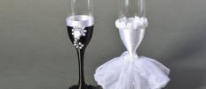 Идеи для украшения свадебных бокалов