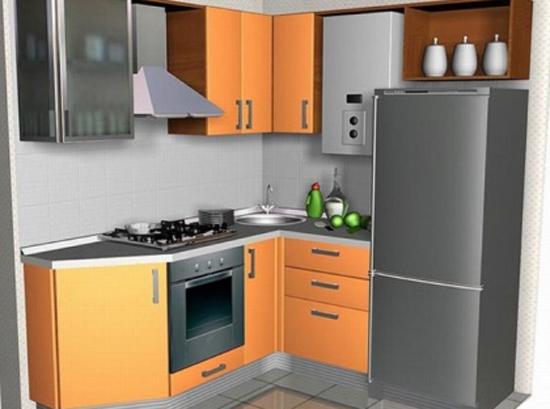 Дизайн маленькой кухни в хрущевке с колонкой фото