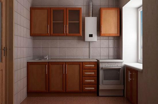 Кухня в хрущевке дизайн фото с газовой колонкой