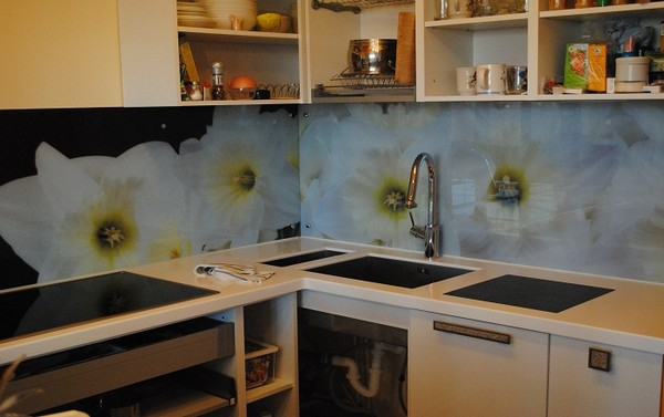 Образцы фартуков из стекла для кухни