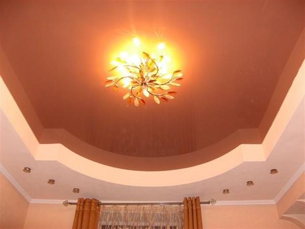 натяжные потолки на кухне фото (19)