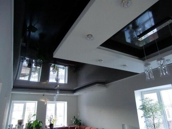 натяжные потолки на кухне фото (17)