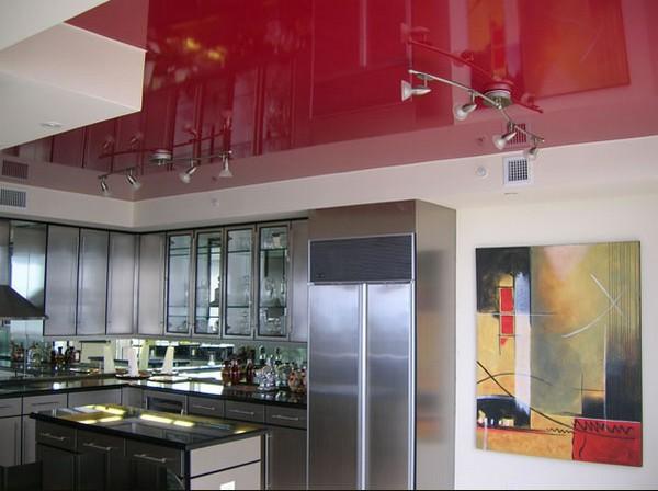 натяжные потолки на кухне фото (16)