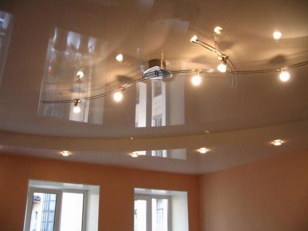 натяжные потолки на кухне фото (15)