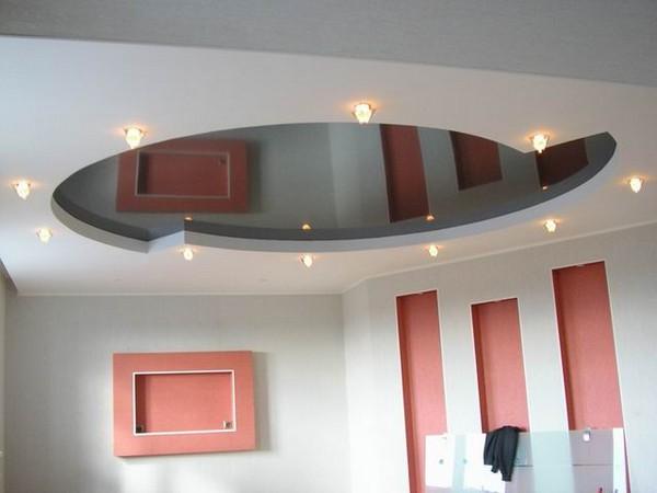 натяжные потолки на кухне фото (13)