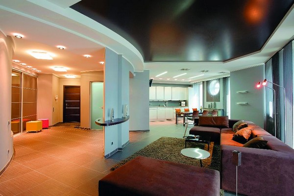 натяжные потолки на кухне фото (10)