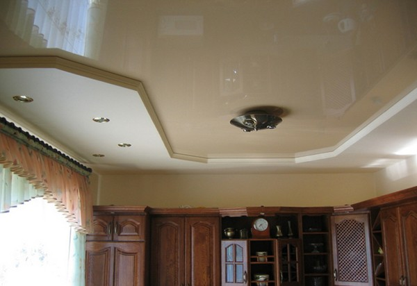 натяжные потолки на кухне фото (6)