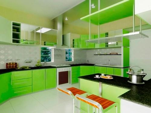 кухня зеленого цвета фото (18)