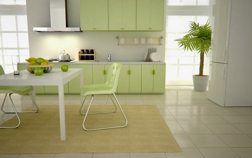 кухня зеленого цвета фото (15)