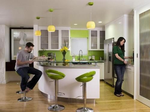 кухня зеленого цвета фото (13)