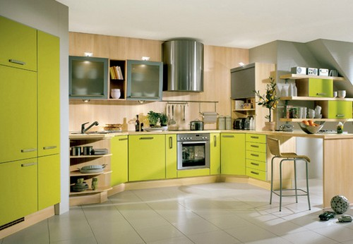 кухня зеленого цвета фото (4)