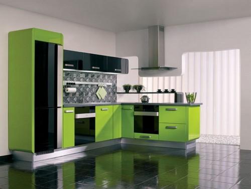 кухня зеленого цвета фото (2)