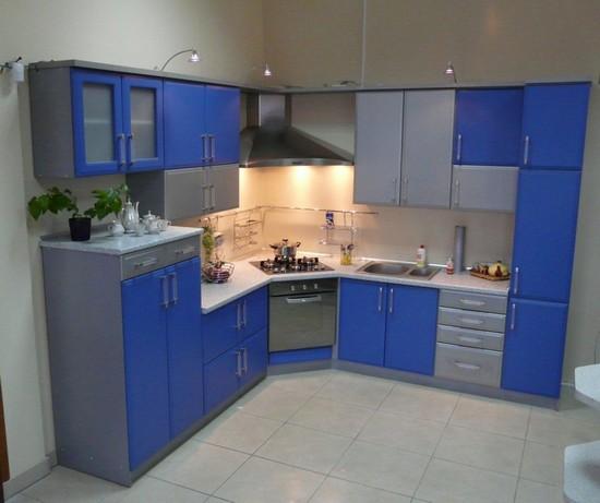на фото голубые кухни