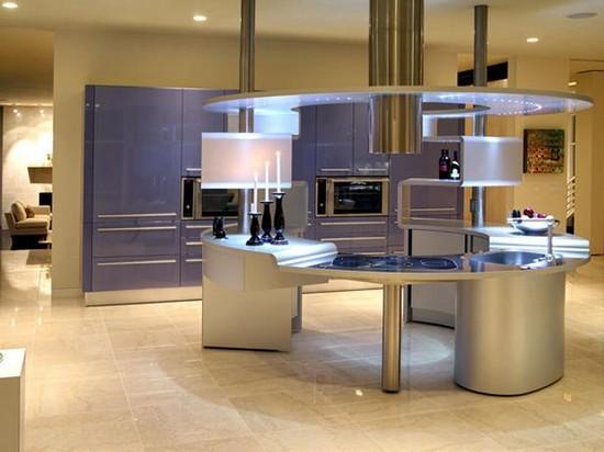 на фото кухня голубого цвета