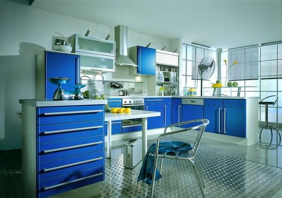 кухня голубого цвета на фото