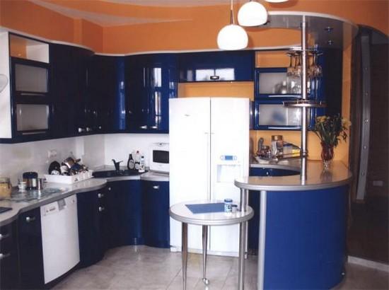 интерьер голубой кухня