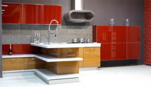 красная кухня в стиле модерн
