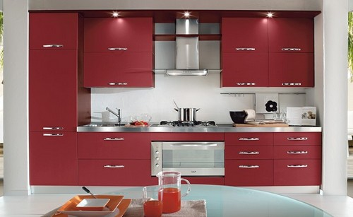 темно-красная кухня