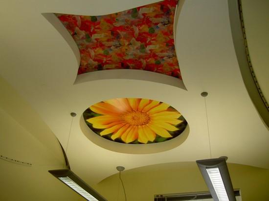 Натяжные потолки на кухне с рисунком