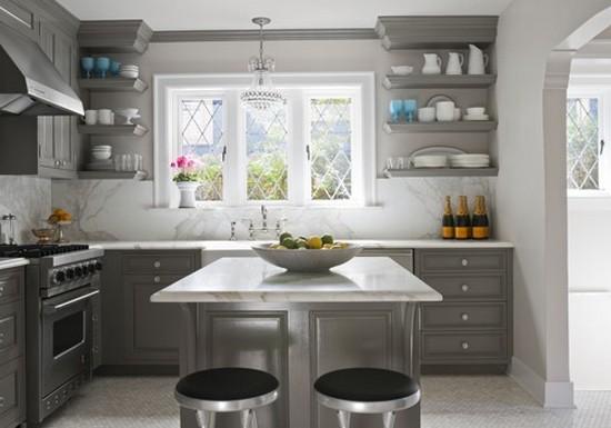 кухня серого цвета на фото