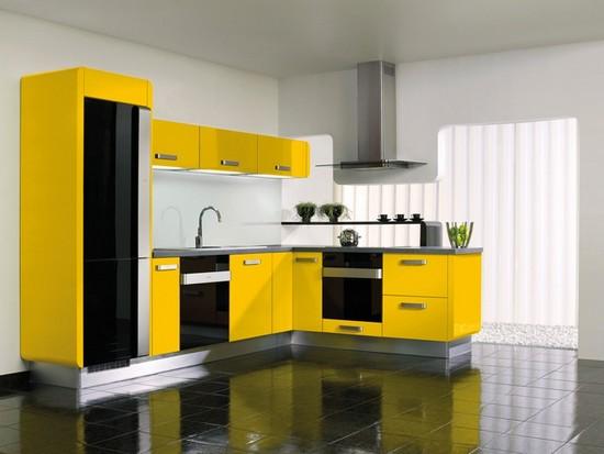 интерьер кухни в желтом цвете фото
