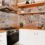 Плитка под кирпич в интерьере кухни