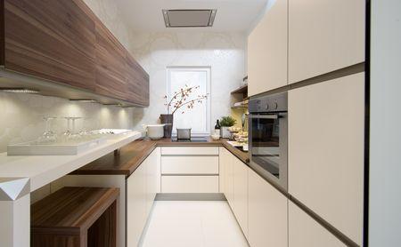 Длинные и узкие кухни дизайн фото