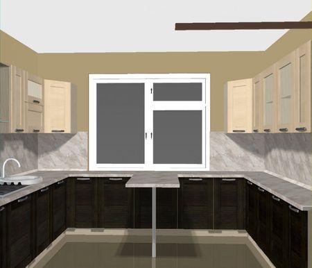 п образные кухни фото с окном посередине