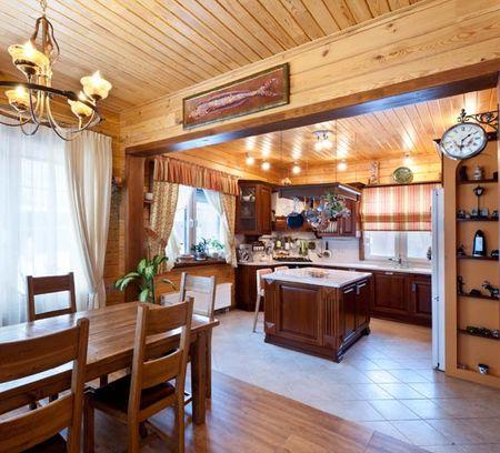 кухня в доме из бруса фото идеи оформления интерьера