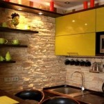 Идеи отделки стен на кухне декоративным камнем