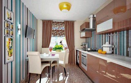 Интерьер кухни с комбинированными обоями
