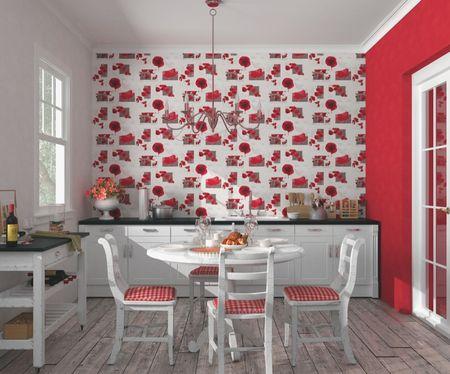 Интерьер кухни в красных цветах