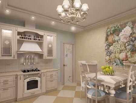 Кухня в бежевых расцветках