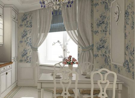 Кухня в стиле прованс в голубых расцветках