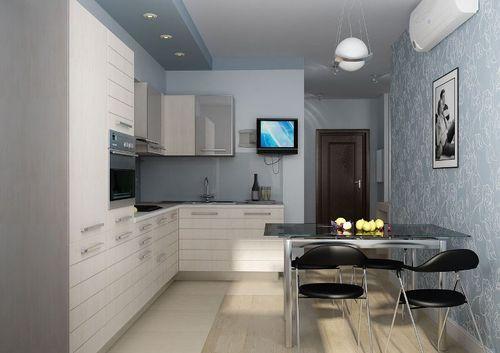 Светлая кухня площадью 9 квадратов