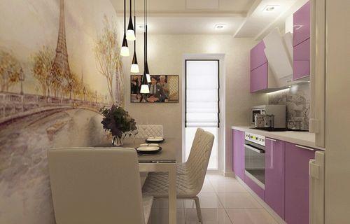 Прямолинейная кухня в интерьере